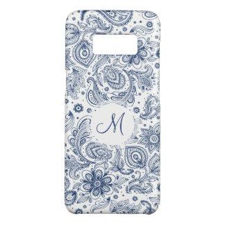 Blue Vintage Floral Pattern Monogram Samsung Case
