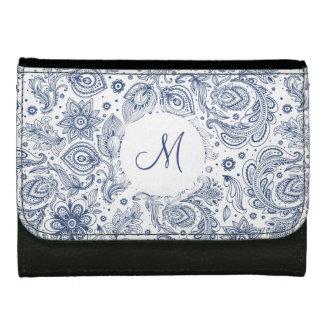 Blue Vintage Floral Pattern Monogram Wallet