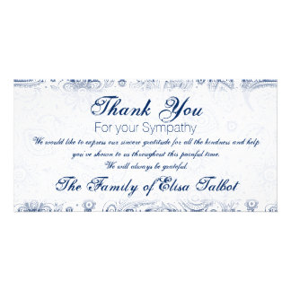 Blue Vintage Floral Pattern Sympathy Thank You P Photo Card Template