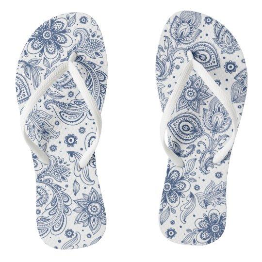 Blue Vintage Floral Pattern Woman Flip flop