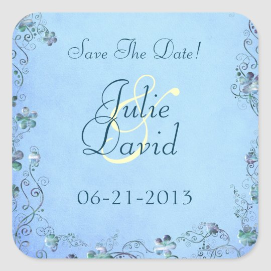 Blue Vintage Floral Wedding Save The Date Square Sticker