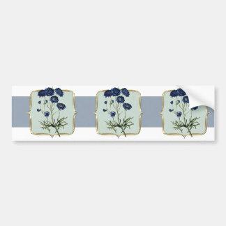 Blue Vintage Flowers Wide Bumper Sticker