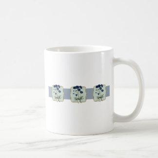 Blue Vintage Flowers Wide Coffee Mug
