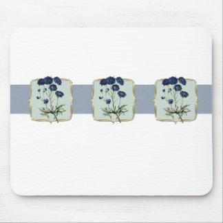 Blue Vintage Flowers Wide Mouse Pad