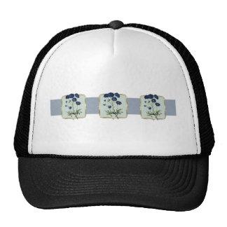 Blue Vintage Flowers Wide Trucker Hat