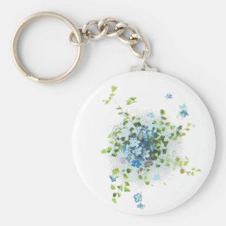 Blue Vintage Forget-Me-Nots Basic Round Button Keychain