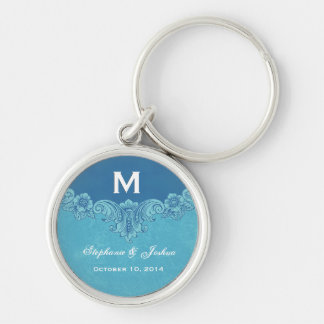 Blue Vintage Frame Custom Monogram Wedding Silver-Colored Round Keychain