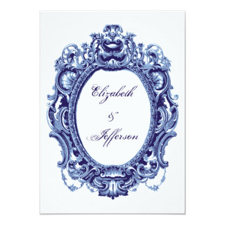 Blue Vintage Frame Wedding Invitations