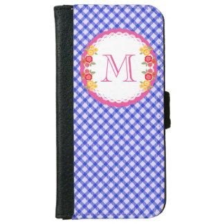 Blue vintage gingham flower monogram iPhone 6 wallet case