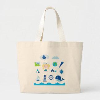 BLUE VINTAGE MARE ICONS : Tshirts Large Tote Bag