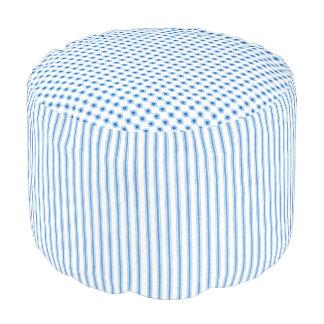 Blue-Vintage-Mattress-Ticking-Floral-Mod-Pouf Pouf