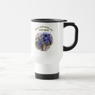 Blue vintage old roadster with the engine out travel mug