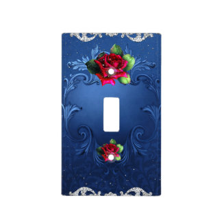 Blue Vintage Ornamental Red Roses Glam Sparkle Light Switch Cover