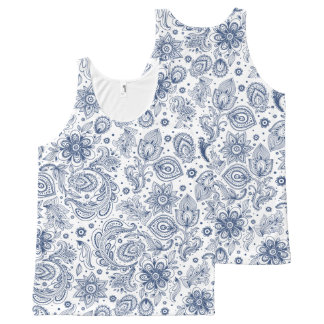 Blue Vintage Paisley Floral pattern U Tank Top