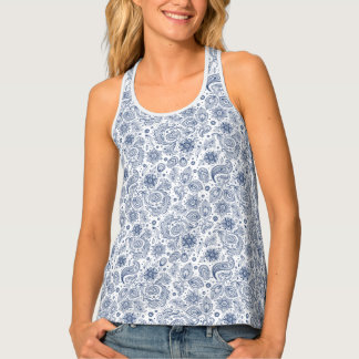 Blue Vintage Paisley Floral pattern Woman Tank Top