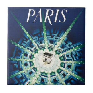 Blue Vintage Paris French Air Travel Europe Ceramic Tiles