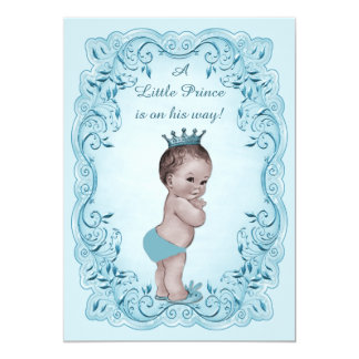 "Blue Vintage Prince Baby Shower 5"" X 7"" Invitation Card"