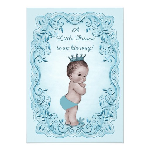 Blue Vintage Prince Baby Shower Announcements