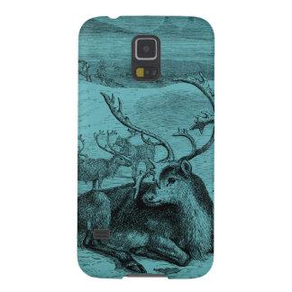Blue Vintage Reindeer Illustration Galaxy S5 Covers