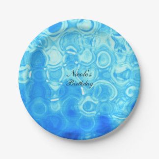 Blue Vintage Retro Glamour Fashion Circle Art 7 Inch Paper Plate