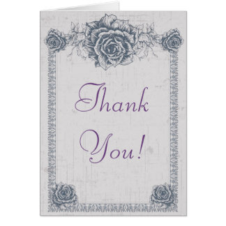 Blue Vintage Rose Border Wedding Thank You Note Card