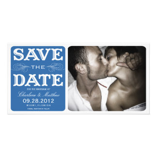 BLUE VINTAGE  | SAVE THE DATE ANNOUNCEMENT CUSTOMIZED PHOTO CARD