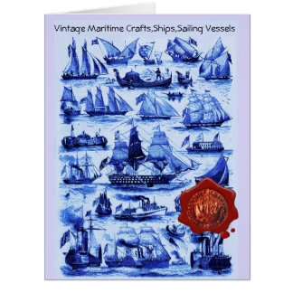BLUE VINTAGE SHIPS,SAILING VESSELS Red Wax Seal Card