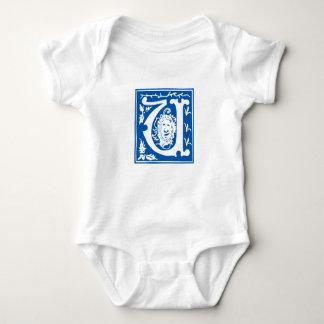 Blue vintage U letter - customise name of baby boy Baby Bodysuit