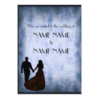"Blue Vintage Wedding in silhouette 5"" X 7"" Invitation Card"