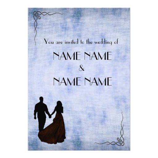 Blue Vintage Wedding in silhouette with frame Personalized Invitations