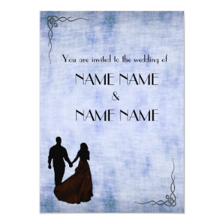 "Blue Vintage Wedding in silhouette with frame 5"" X 7"" Invitation Card"