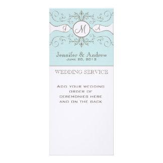 Blue Vintage Wedding Programs Linen Custom Announcements