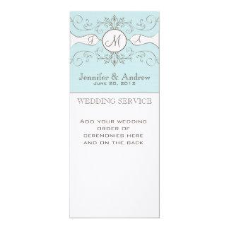 "Blue Vintage Wedding Programs Linen 4"" X 9.25"" Invitation Card"