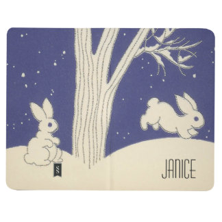 Blue Vintage White Bunnies Hopping in the Snow Journals