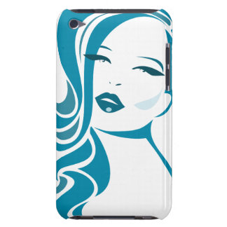 Blue Vintage Woman Face Barely There iPod Case