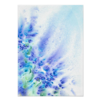 Blue Violet Field of Flowers Abstract Watercolor Poster