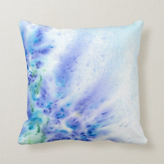 Blue Violet Field of Flowers Abstract Watercolor Throw Pillow