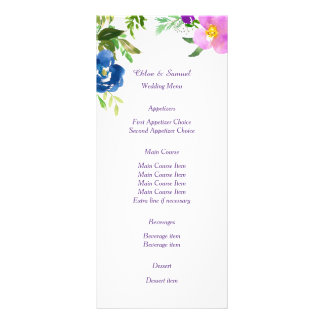 Blue Violet Garden Wedding Menu Custom Rack Card