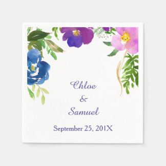 Blue Violet Garden Wedding Paper Napkin