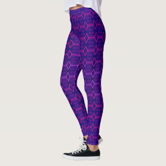 Blue Violet Indigo and Purple Geometric Pattern Leggings