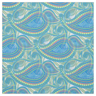 Blue Violet Lime Green Paisley Floral Art Pattern Fabric