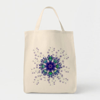 Blue Violet Perennial Cotton Grocery Tote Bag