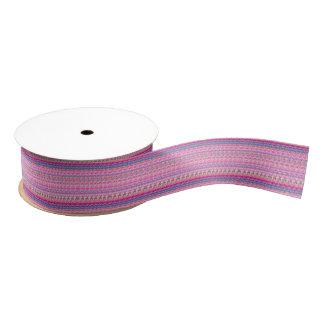 Blue Violet Pink Stripes Grosgrain Ribbon