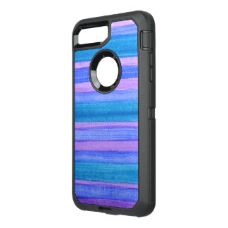 Blue, Violet, Teal Painted Stripes OtterBox Defender iPhone 7 Plus Case