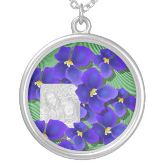 Blue Violets Silver Plated Necklace