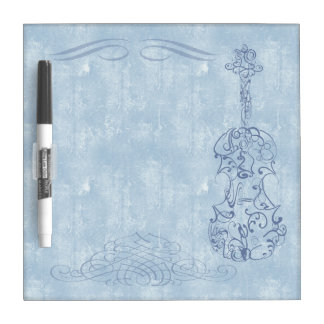 Blue Violin Line Drawing Dry Erase Board