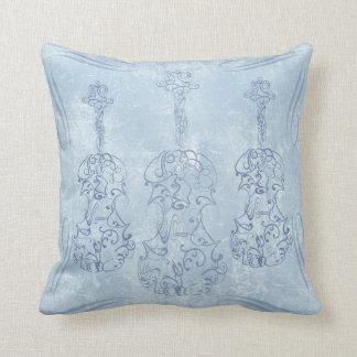 Blue Violin Line Drawing Throw Pillow