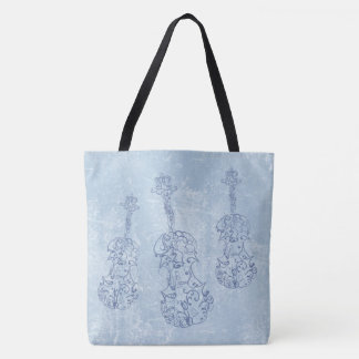 Blue Violin Line Drawings Faux Leather Backdrop Tote Bag