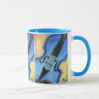 Blue violin mug