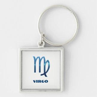 Blue Virgo Zodiac Signs On White Keychain